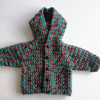 baby boy chunky wool coat in bright turquoise red green mix. 0-3-4 months