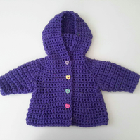 Bright purple chunky wool baby girl hooded coat with heart buttons. 0-5 months