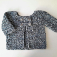 Wool and cotton chunky baby girl coat jacket, blue baby cardigan. 6-12 mon