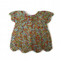 Designer wool lace baby dress smock in bright yellow multicolour. 3-6-9 months