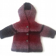Beautiful featherlight baby girl hooded coat in red mix mohair. 0-6 months