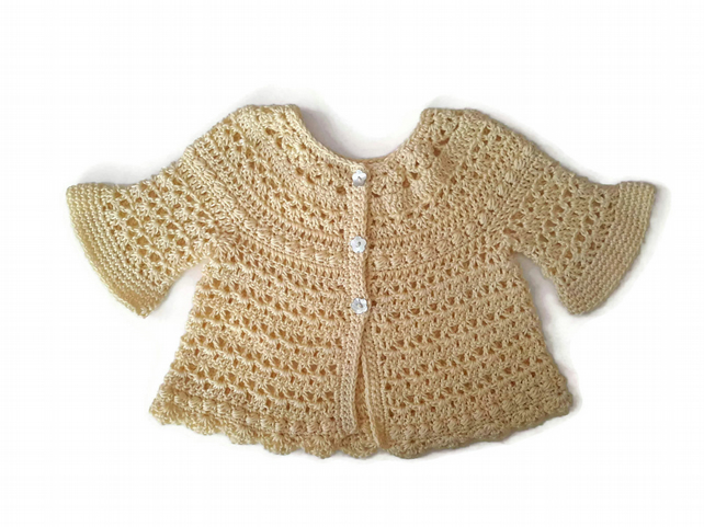 Baby girl lace jacket in pure 100% Egyptian cotton with bell sleeves. 0-3-6 m