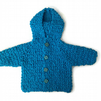 Soft light cotton chunky baby sweater with hood in bright blue. 0-6 months