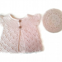 Baby girl lace pinafore cardigan and beret in blush pink cream wool. 3-9 months