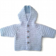 Baby boy hooded cardigan, pale blue soft cotton mix, monkey buttons. 0-6 months