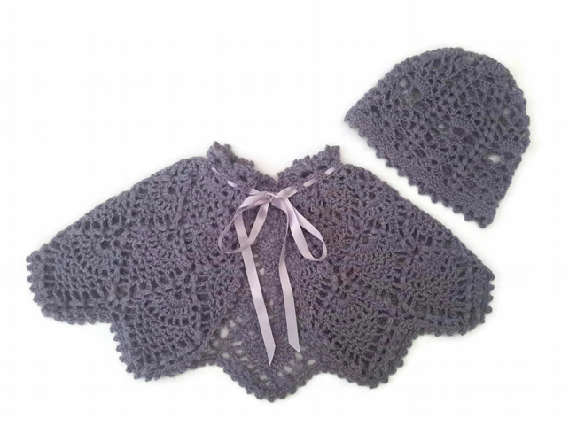 Pure French baby alpaca pinapple lace baby cape in lilac, with hat. 0-6 months