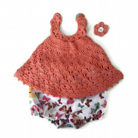 Gorgeous baby girl lace sun dress in tangerine cotton with bloomers. 0-6 months