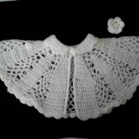White mohair baby cape, Christening or baptism outift. 0-3-6 months