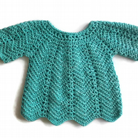 Turquoise cotton baby girl dress tunic jacket. 3-9 months
