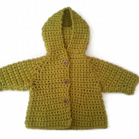 Baby girl hooded jacket in citrus green merino wool mix chunky.  0-6 months