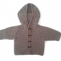 Beige baby boy summer coat in soft recycled cotton mix. 0-6 months