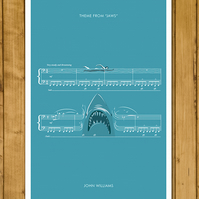 "JAWS - Theme from Jaws by John Williams - Movie Classics Poster (A3 or 11x17"")"