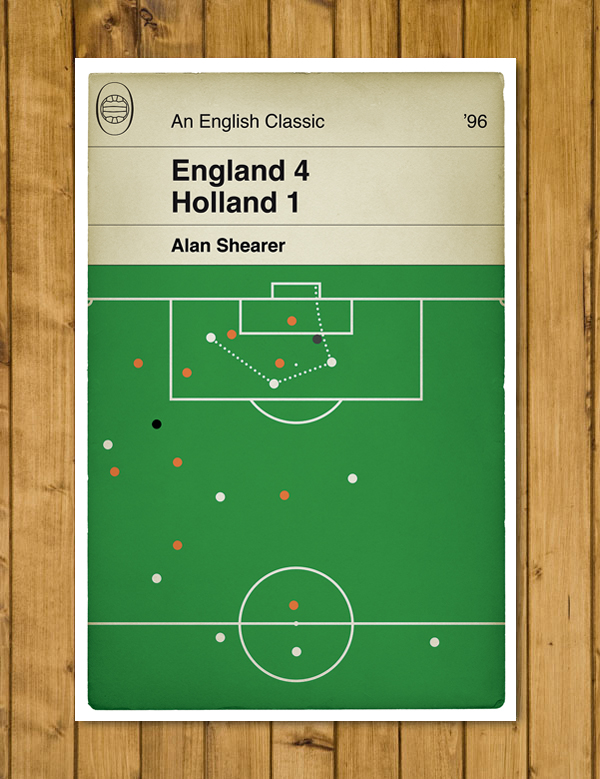Football Book Cover Poster - England - Shearer goal v Holland - Euro 96 - A3
