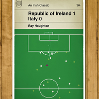 Football Book Cover Poster - Republic of Ireland - Houghton goal v Italy - A3