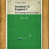 Scotland Rugby - Tony Stanger Try - Scotland v England - Book Cover Poster - A3