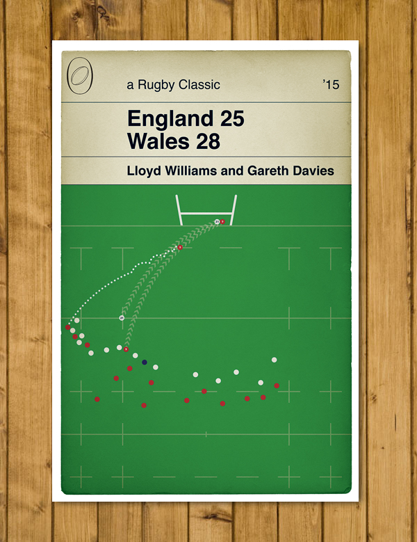 Wales Rugby - Gareth Davies Try - England v Wales - Rugby Book Cover Poster - A3