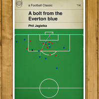 Football Book Cover Poster - Jagielka goal for Everton v Liverpool - A4 Size