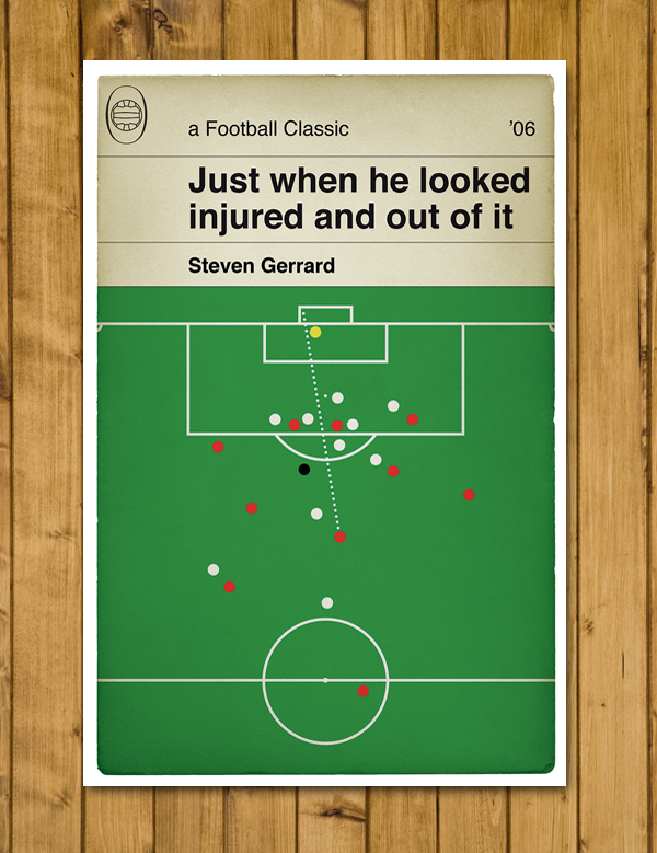 Football Book Cover Poster - Gerrard goal for Liverpool v West Ham - A3 Size