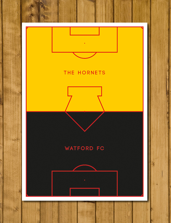Football Poster - Watford Poster - The Hornets - Pitch Perfect Poster - A3