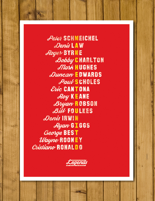 Football Poster - Manchester United Legends - Red or Black Version - A3