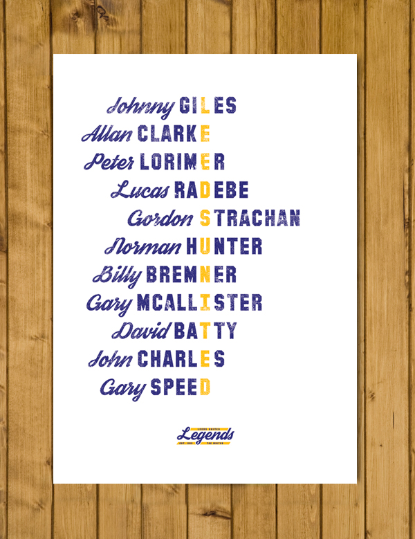 Football Poster - Leeds United Legends - A3
