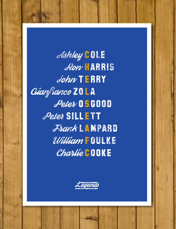 Football Poster - Chelsea Legends - A3