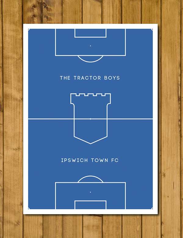Football Poster - Ipswich Town - The Tractor Boys - Pitch Perfect Poster A3
