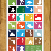 "The Pixar Alphabet Poster - Pixar A-Z ( A3 - 11x17"" or 12.6 x 15"")"