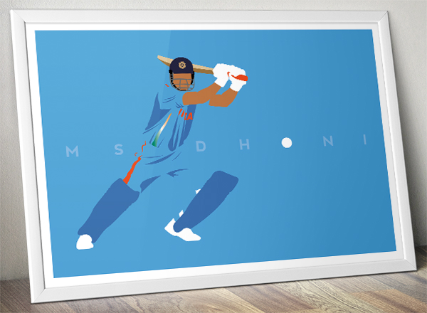 Cricket Poster - MS Dhoni - India Cricket - Minimal Art - A3