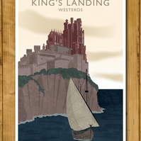 Game of Thrones - King's Landing - Westeros Ink Press Style Poster A3 or 11x17""