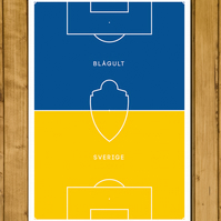 Sverige - Sweden - Pitch Perfect - Blagult - Sverige Football Poster - A3