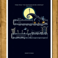 The Nightmare Before Christmas - Jack's Lament Print - Danny Elfman A3 or 11x17""