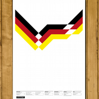 "West Germany - World Cup 1990 - Deutschland Retro Kit Poster (A3 or 11x17"")"