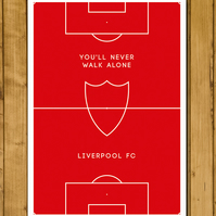 Liverpool Football Club - You'll Never Walk Alone - Pitch Perfect Poster - A3