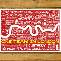 Football Poster - One Team in London - Arsenal - A3