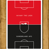 Sunderland AFC - Ha'way the lads - Pitch Perfect Poster - A3