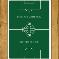 Northern Ireland - Pitch Perfect - Green and White Army - Football Poster - A3