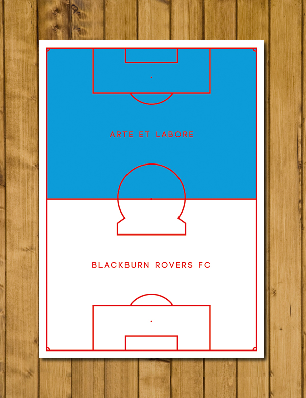 Blackburn Rovers FC - Arte et Labore - Pitch Perfect Poster - A3