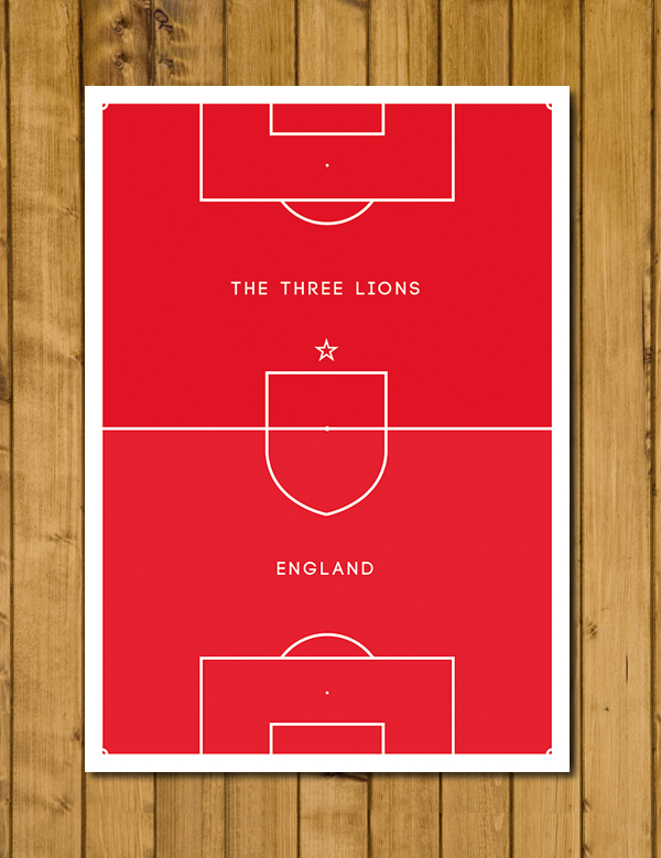 England - Pitch Perfect - Red Edition - The Three Lions - Football Poster - A3