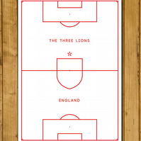 England - Pitch Perfect - White Edition - The Three Lions - Football Poster - A3