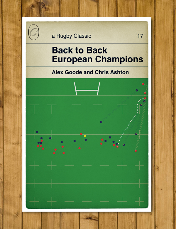 Saracens try v Clermont in the 2017 European Cup Final - Rugby Poster - A3