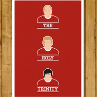 Manchester United Legends - The Holy Trinity - Charlton, Law & Best Poster - A3