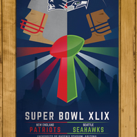 "New England Patriots v Seattle Seahawks - Super Bowl XLIX Poster (11 x 17"")"