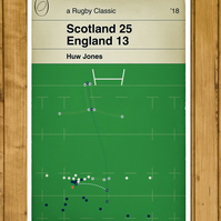 Scotland 25 England 13 - Huw Jones Try - Six Nations 2018 - Rugby Poster - A3