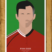 Football Poster - Ryan Giggs - 1991 - 2014 Split Poster  - Man Utd - A3