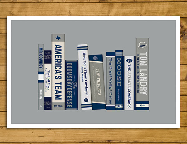 "Dallas Cowboys - Storied Franchise Poster - Book Cover Spines (11x17"")"