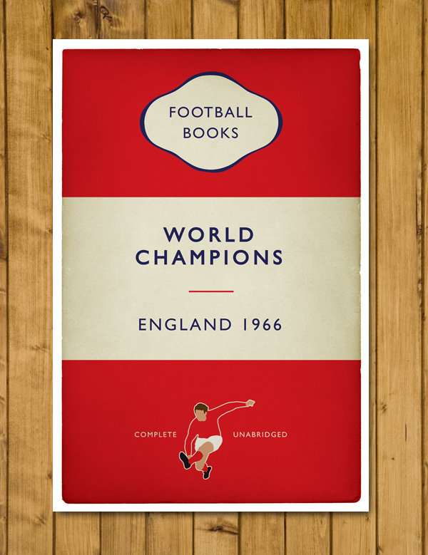 England - World Champions 1966 - Book Cover - Football Poster A3