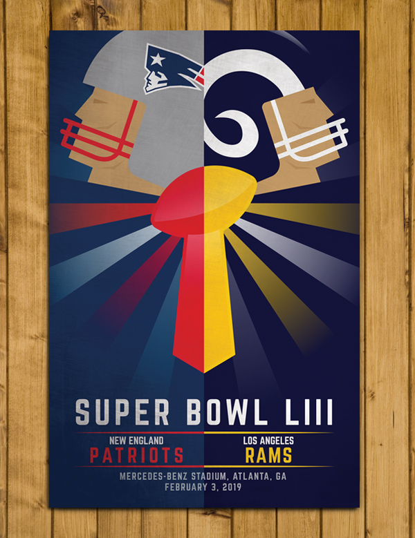 "New England Patriots v Los Angeles Rams - Super Bowl LIII Poster (11 x 17"")"