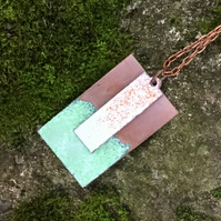 Torch Enamelled Double Plate 'Lichen' Pendant Necklace