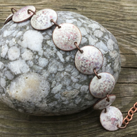 Grey and Mauve 'Cuttlefish' Recycled Torch Enamelled Halfpenny Coin Bracelet